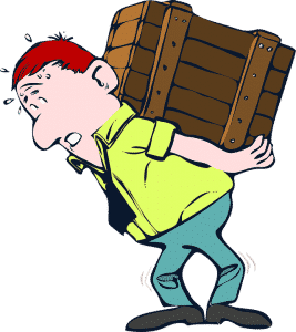 cartoon of a man carrying a wooden box on his back