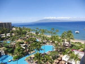 A hotel resort on a beach in Maui. - Maui has some of the best colleges in Hawaii