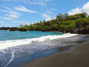 Black sand beach in Hawaii.