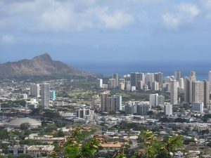 Cityscape of a town on the Oahu island, Hawaii.