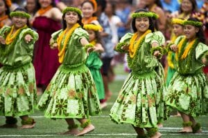 Hawaiian female Hula dancers.