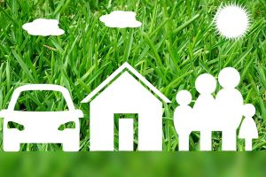 A house, a car and a family.