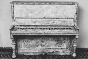 Black and white piano.