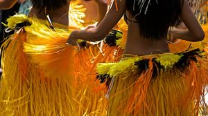 Dancer in their festive Hula dancing uniforms.