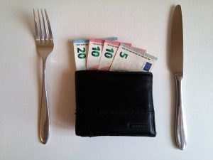 A wallet full of money, a fork on its left side and a knife on the right